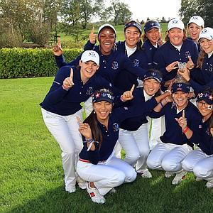 The U.S. team celebrates after retaining the Junior Solheim Cup in Ireland.