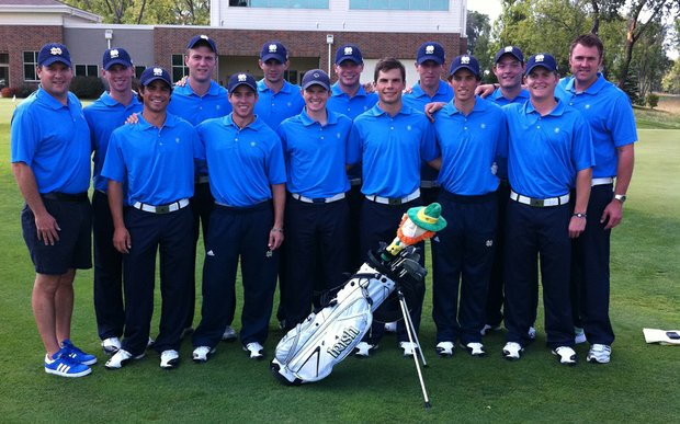 Courtesy notre dame the notre dame men 39 s golf will wear for Notre dame golf shirts