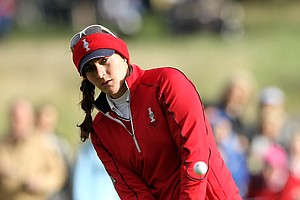 Brittany Lang of the U.S. chips during the morning foursomes on Day 1 of the 2011 Solheim Cup at Killeen Castle Golf Club on September 23, 2011 in Dunshaughlin, County Meath, Ireland.