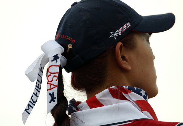 Michelle Wie of the U.S. on the 9th hole during their foursomes match against Europe's Maria Hjorth and Anna Nordqvist during Day 1 of The Solheim Cup at Killeen Castle in Dunsany near Dublin, Ireland on September 23, 2011. Michelle Wie and Cristie Kerr won their match 2 and 1.