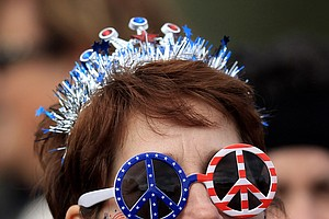 A U..S fan looks on during the morning foursomes on Day 1 of the 2011 Solheim Cup at Killeen Castle Golf Club on September 23, 2011 in Dunshaughlin, County Meath, Ireland.
