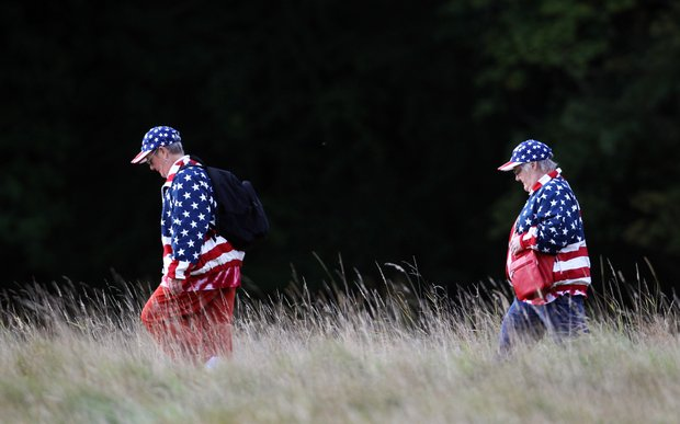 U.S. fans walk through the rough during the foursomes matches during Day 1 of The Solheim Cup at Killeen Castle in Dunsany near Dublin, Ireland on September 23, 2011.