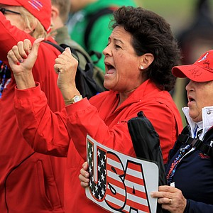 Nancy Lopez of the U.S. shows her support during the morning foursomes on Day 1 of the 2011 Solheim Cup at Killeen Castle Golf Club on September 23, 2011 in Dunshaughlin, County Meath, Ireland.