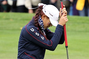 Michelle Wie of the U.S. reacts to a missed putt on the 9th green during the afternoon four-ball play on Day 1 of the 2011 Solheim Cup at Killeen Castle Golf Club on September 23, 2011 in Dunshaughlin, County Meath, Ireland.