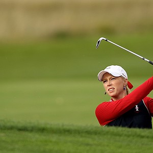 Morgan Pressel of the U.S. hits from a bunker on the 11th hole during afternoon four-ball play on Day 1 of the 2011 Solheim Cup at Killeen Castle Golf Club on September 23, 2011 in Dunshaughlin, County Meath, Ireland.