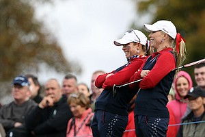 Morgan Pressel, right, and Paula Creamer of the U.S. look on from 11th green during their four-ball match Europe's Laura Davies and Melissa Reid during Day 1 of The Solheim Cup at Killeen Castle in Dunsany near Dublin, Ireland on September 23, 2011.
