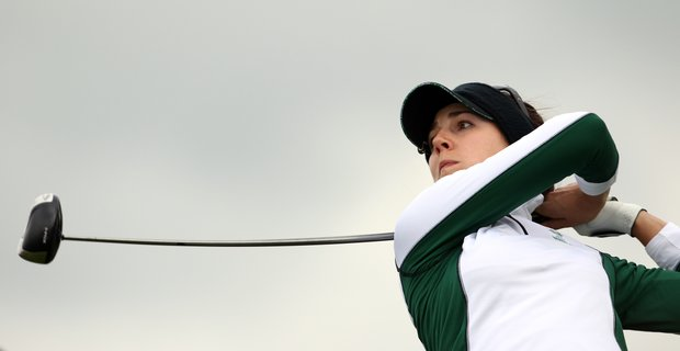 Europe's Sandra Gal of Germany drives off the 12th tee during a four-ball match against Chrstina Kim and Ryann O'Toole of the U.S. during Day 1 of The Solheim Cup at Killeen Castle in Dunsany near Dublin, Ireland on September 23, 2011.