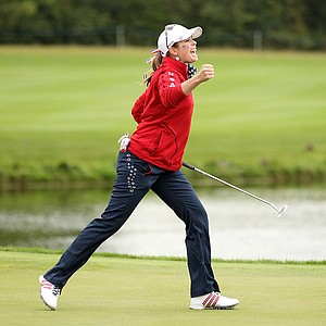 Paula Creamer of the U.S. celebrates after holing a putt on the 17th green during afternoon four-ball play on Day 1 of the 2011 Solheim Cup at Killeen Castle Golf Club on September 23, 2011 in Dunshaughlin, County Meath, Ireland.