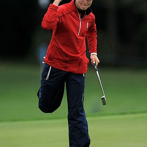 Ryann O'Toole of the U.S. celebrates a birdie putt on the 7th green during the afternoon four-ball matches on Day 1 of the 2011 Solheim Cup at Killeen Castle Golf Club on September 23, 2011 in Dunshaughlin, County Meath, Ireland. O'Toole and partner Christina Kim would halve the match.
