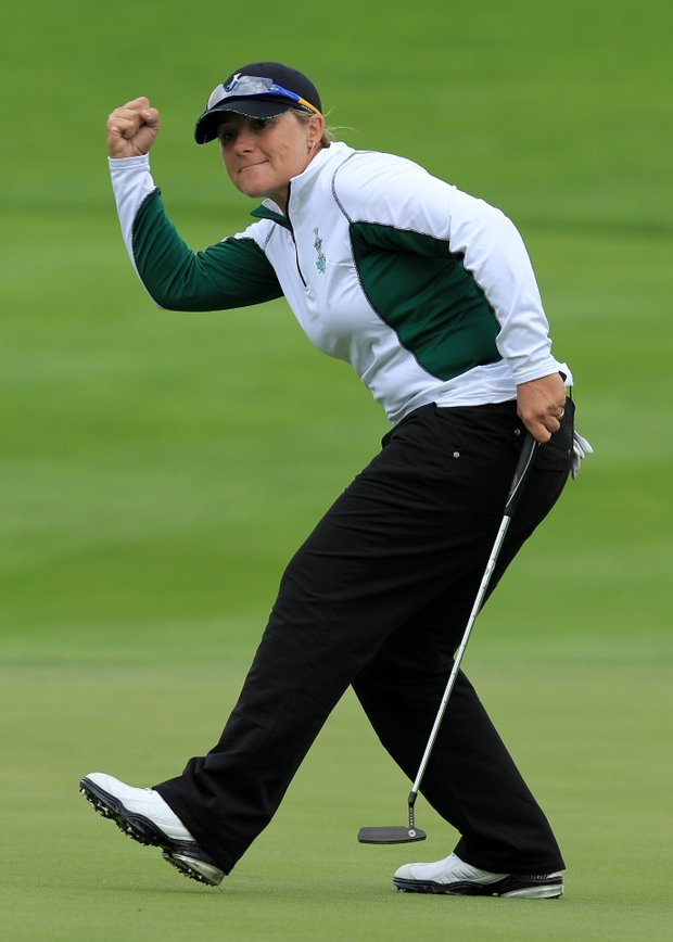 Karen Stupples of Europe celebrates holing a putt during the morning foursomes on Day 1 of the 2011 Solheim Cup at Killeen Castle Golf Club on September 23, 2011 in Dunshaughlin, County Meath, Ireland.