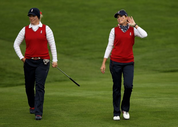 Paula Creamer of the USA gestures to the crowd during the morning foursomes on Day 1 of the 2011 Solheim Cup at Killeen Castle Golf Club on September 23, 2011 in Dunshaughlin, County Meath, Ireland.