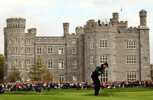 Europe's Sophie Gustafson of Sweden, plays her approach shot onto the 18th green during the foursomes match against Brittany Lang and Julie Inkster of the U.S. during Day 1 of the The Solheim Cup at Killeen Castle Dunsany near Dublin, Ireland, on September 23, 2011.