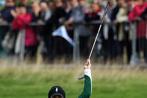 Europe's Azahara Munoz of Spain, reacts after her putt on the 16th green to half the hole and win the match during the foursomes match against Stacy Lewis and Angela Stanford of the U.S. during Day 1 of the The Solheim Cup at Killeen Castle Dunsany near Dublin, Ireland, on September 23, 2011.