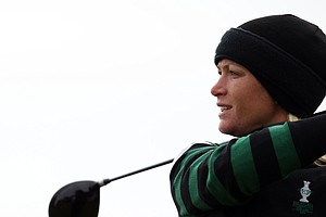 Europe's Suzann Pettersen of Norway, hits a drive on the 13th hole during the foursomes match against Brittany Lang and Julie Inkster of the U.S. during Day 1 of the The Solheim Cup at Killeen Castle Dunsany near Dublin, Ireland, on September 23, 2011.