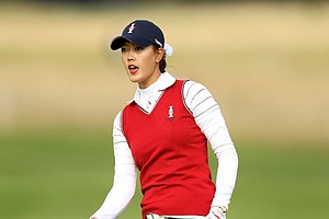 Michelle Wie of the U.S. reacts during the morning foursomes on Day 1 of the 2011 Solheim Cup at Killeen Castle Golf Club on September 23, 2011 in Dunshaughlin, County Meath, Ireland.