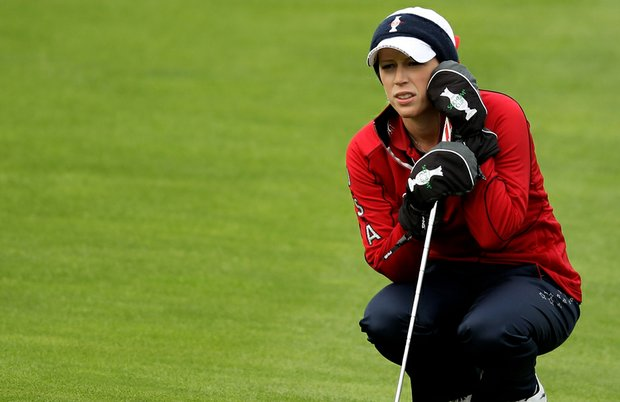 Morgan Pressel lines up a putt during the afternoon fourballs on Day 1 of the 2011 Solheim Cup at Killeen Castle.