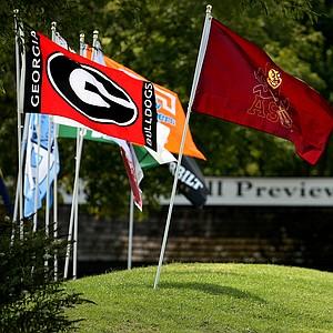 Team flags fly at Vanderbilt Legends Club in Franklin, Tenn.