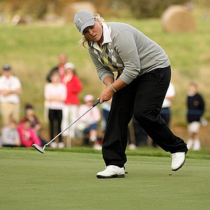 Caroline Hedwall of Sweden reacts to her putt on the 14th green during the afternoon fourballs on Day 2 of the 2011 Solheim Cup.