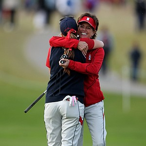 Paula Creamer celebrates victory with Captain Rosie Jones during the afternoon fourballs on Day 2 of the 2011 Solheim Cup.