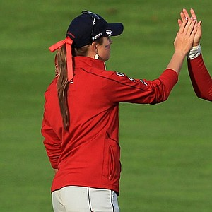 Brittany Lincicome, right, and Paula Creamer celebrate on the 16th hole during the afternoon fourballs on Day 2 of the 2011 Solheim Cup at Killeen Castle Golf Club.