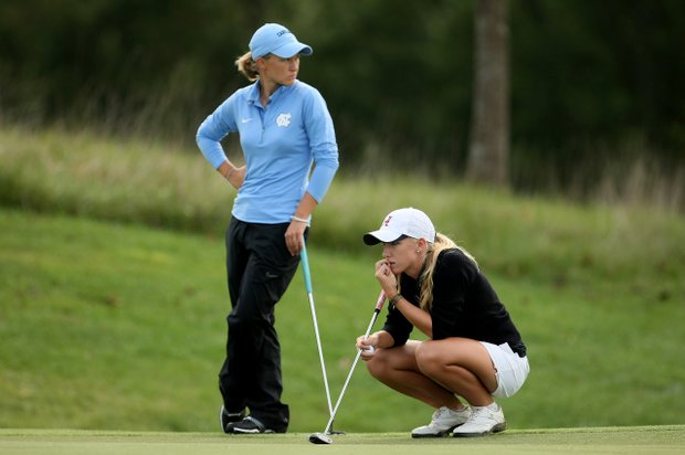 Alabama's Brooke Pancake waits with North Carolina's Casey Grice for their turn to putt during the final round.