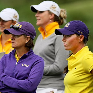 LSU head coach Karen Bahnsen, left, with her player, Tessa Teachman, during the final round at the Mason Rudolph Fall Preview. LSU finished in 11th place.