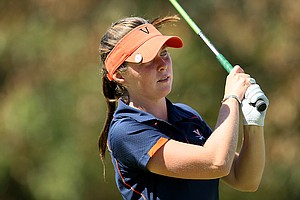 University of Virginia's Brittany Altomare watches her tee shot during the final round. Altomare shot a final round 69 to tie for third.