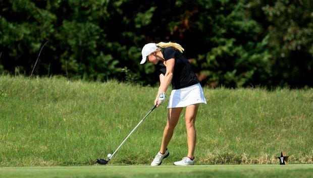Alabama's Stephanie Meadown hits her tee shot at No. 11.
