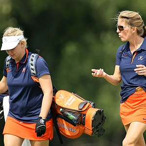 Virginia head coach, Kim Lewellen, right, walks her player, Portland Rosen at No. 18. University of Virginia placed T3.
