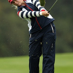 Brittany Lincicome of the U.S. hits an approach on the 3rd hole during her singles match on Day 3 of the 2011 Solheim Cup at Killeen Castle Golf Club on September 25, 2011.