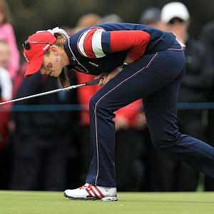 Paula Creamer of the U.S. reacts to a missed putt on the 3rd green during her singles match against Catriona Matthew on Day 3 of the 2011 Solheim Cup at Killeen Castle Golf Club on September 25, 2011.