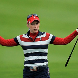 Morgan Pressel of the U.S. reacts to her 2nd shot on the 1st hole during her singles match on Day 3 of the 2011 Solheim Cup at Killeen Castle Golf Club on September 25, 2011.