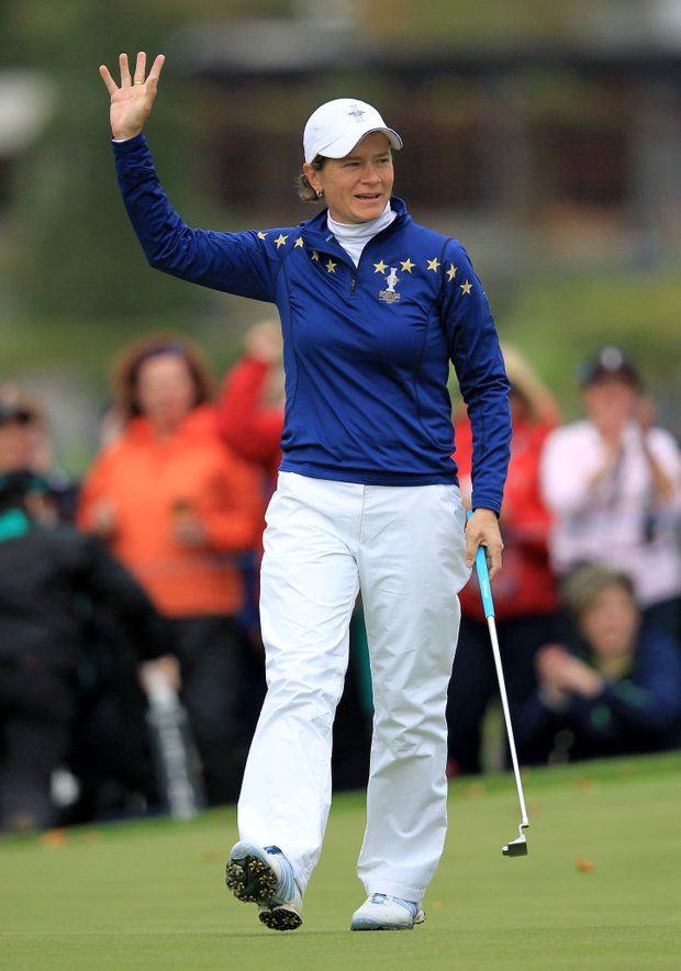 Catriona Matthew of Europe celebrates a birdie on the 3rd hole during her singles match against Paula Creamer on Day 3 of the 2011 Solheim Cup at Killeen Castle Golf Club on September 25, 2011.