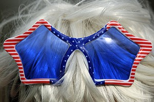 Detail of a U.S. fan's sunglasses during the singles matches on Day 3 of the 2011 Solheim Cup at Killeen Castle Golf Club on September 25, 2011.