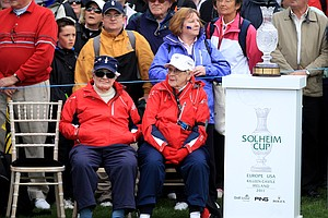 Louise Suggs, left, and Shirley Spork look on during the singles matches on Day 3 of the 2011 Solheim Cup at Killeen Castle Golf Club on September 25, 2011.