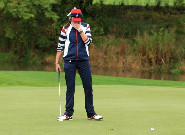Paula Creamer of the U.S. reacts to a missed putt during the singles matches on Day 3 of the 2011 Solheim Cup at Killeen Castle Golf Club on September 25, 2011.