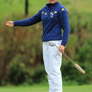 Sophie Gustafson of Europe reacts to a putt during her singles match against Stacy Lewis on Day 3 of the 2011 Solheim Cup at Killeen Castle Golf Club on September 25, 2011.