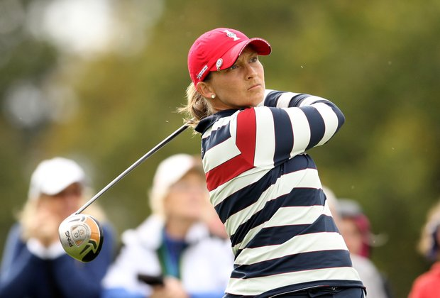 Angela Stanford of the U.S. tees off during her singles match on Day 3 of the 2011 Solheim Cup at Killeen Castle Golf Club on September 25, 2011.