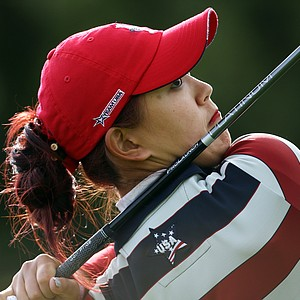 Michelle Wie of the U.S. drives off the 12th tee during her singles match against Europe's Suzann Pettersen during the final day of The Solheim Cup at Killeen Castle in Dunsany near Dublin, on September 25, 2011.