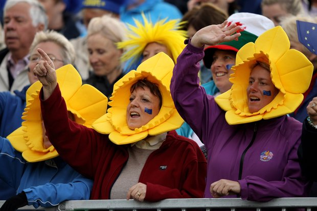Europe fans show their support during the singles matches on Day 3 of the 2011 Solheim Cup at Killeen Castle Golf Club on September 25, 2011.