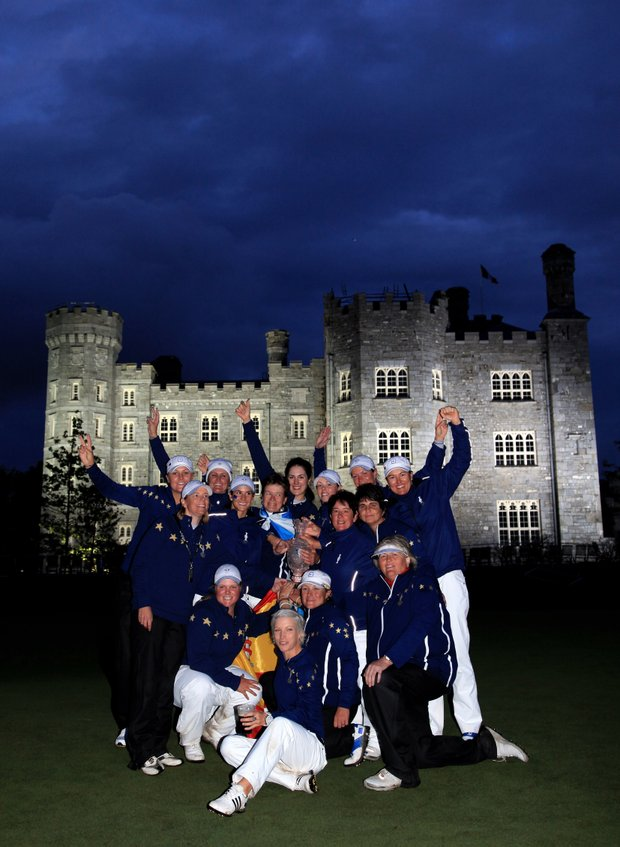 The European team celebrates with the trophy following their 15-13 victory at the 2011 Solheim Cup at Killeen Castle Golf Club on September 25, 2011.