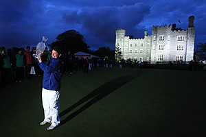 Europe's team captian Alision Nicholas holds up the trophy after winning the Solheim Cup at Killeen Castle Dunsany near Dublin, Ireland on September 25, 2011.