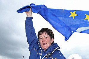 Europe captain Alison Nicholas celebrates her team's 15-13 victory on the 18th green at the 2011 Solheim Cup at Killeen Castle Golf Club on September 25, 2011