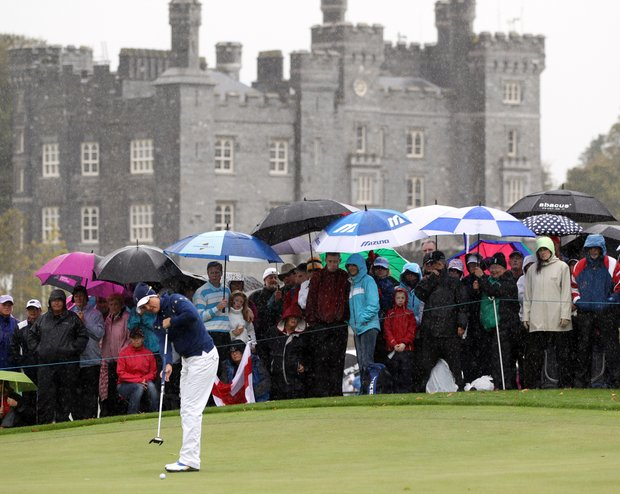 Europe's Maria Hjorth of Sweden putts on the 4th green during the singles matches against Christina Kim on Day 3 of The Solheim Cup at Killeen Castle in Dunsany near Dublin, on September 25, 2011.