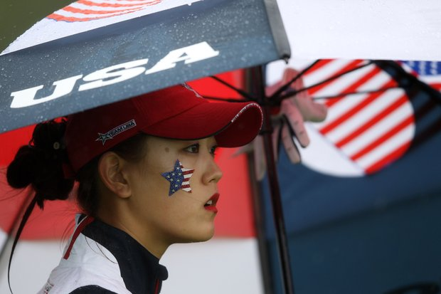Michelle Wie of the U.S. waits on the 3rd hole during the singles matches on Day 3 of the 2011 Solheim Cup at Killeen Castle Golf Club on September 25, 2011.