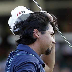 Jason Day, of Australia, reacts after missing his birdie putt on the 18th hole during the final round of the Tour Championship golf tournament at East Lake Golf Club in Atlanta on Sunday, Sept. 25, 2011.