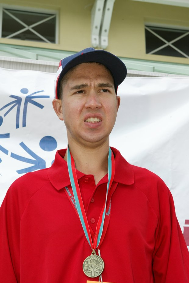 Andrew Martinez (low scorer Level 2, Division M1) at the awards ceremony during the 2011 Special Olympics Invitational Golf Tournament held at PGA Golf Club in Port St. Lucie, Florida, Sunday, September 25, 2011.