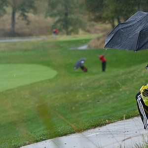 A fan watches action during the second round at the Golfweek Conference Challenge.