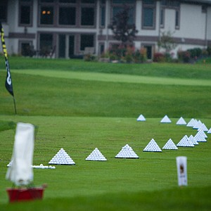 The practice range is devoid of any activity due to Monday's weather at the Golfweek Conference Challenge.