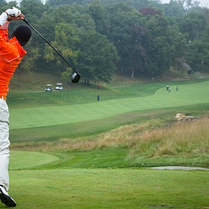 OSU's Sean Einhaus tees off from the elevated tee box at No. 18 during the second round of the Golfweek Conference Challenge.